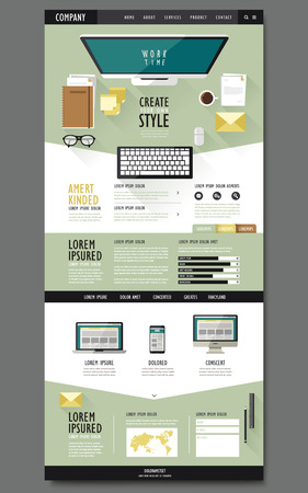 web pages: top view of work area one page website design in flat design Illustration