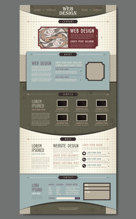 promote: vintage one page website design with hand drawn fish and paper texture