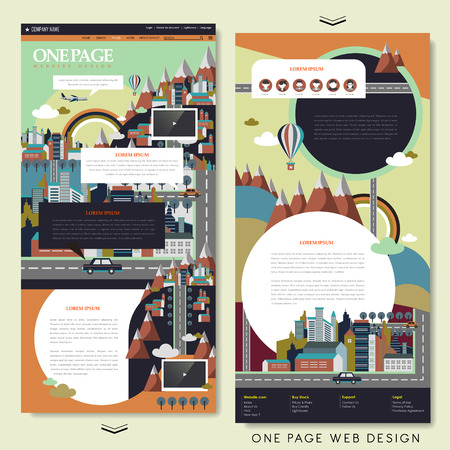 street life: adorable city scene one page website design in flat design