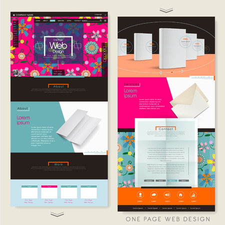 adorable flower one page website design template with book and paper elements