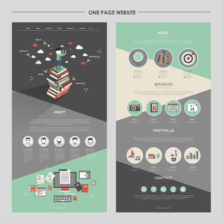 one: adorable business vision one page website design template in flat design Illustration