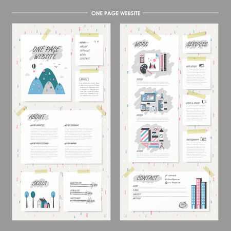 layout design: childlike one page website design template in flat design