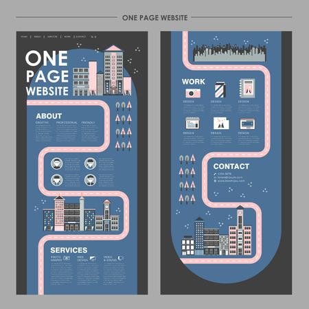 평면 디자인 도시의 밤 풍경 한 페이지 웹 사이트 디자인 템플릿 일러스트