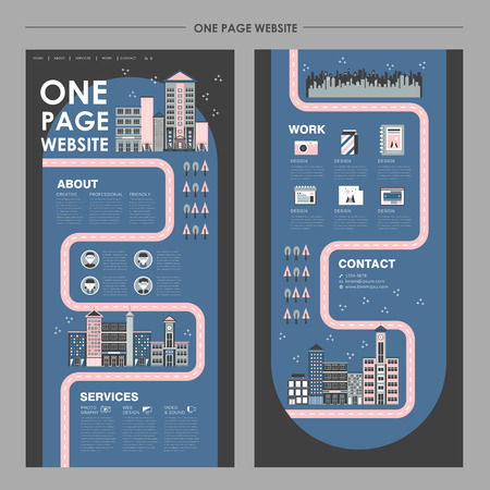 city night scenery one page website design template in flat design Illustration