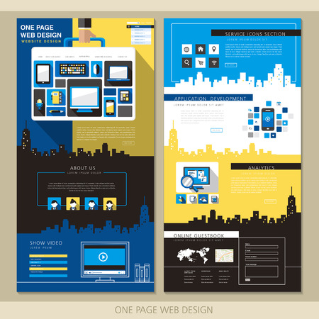 yellow design element: creative one page website design template with briefcase elements in flat