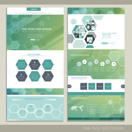 hightech: high-tech concept one page website design with hexagon elements