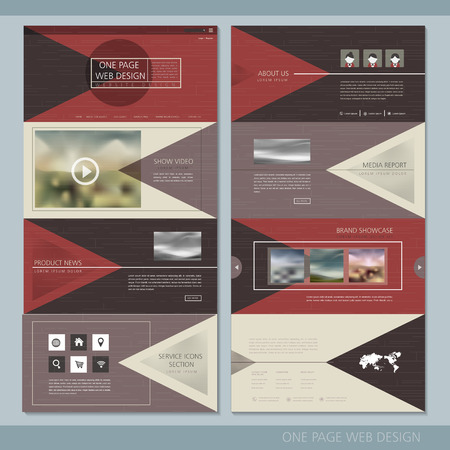 elegant one page website design template with geometric background Illustration