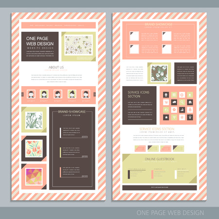 concise: trendy one page website design template with pink striped background