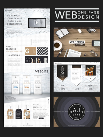 one: modern one page website design template with workplace element Illustration