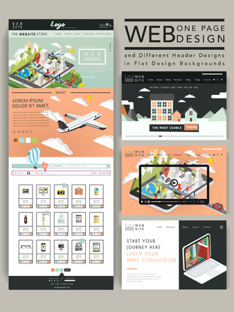 web design company: adorable one page website design template with travel element