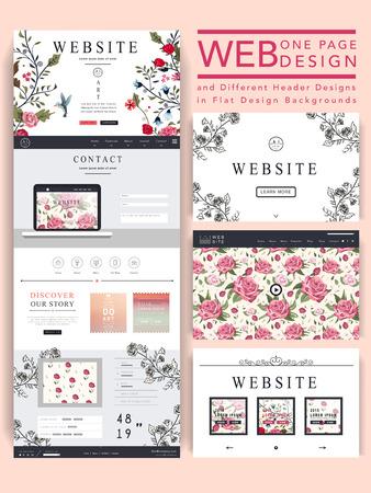 花の要素と優雅な 1 ページのウェブサイトのデザイン テンプレート  イラスト・ベクター素材