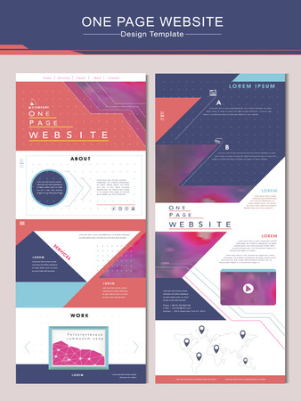 trendy one page website design template with geometric background Illustration