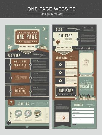 Una página plantilla de diseño de sitios web de la vendimia con elementos de teatro Foto de archivo - 37410108