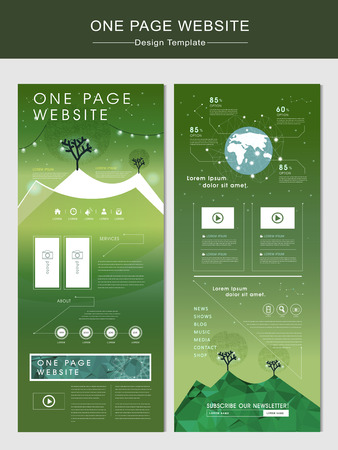commercial tree service: nature one page website design template with glitter polygon element