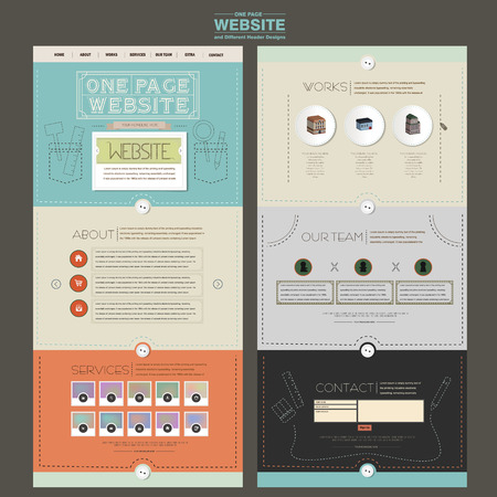 advertising template: adorable one page website design template with sewing thread element