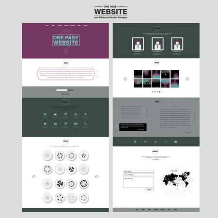 concise: concise one page website design template with exquisite icons