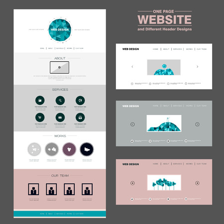 concise: concise one page website design template with polygons element