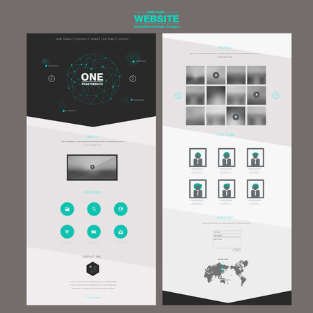 fashionable one page website design template with polygons element