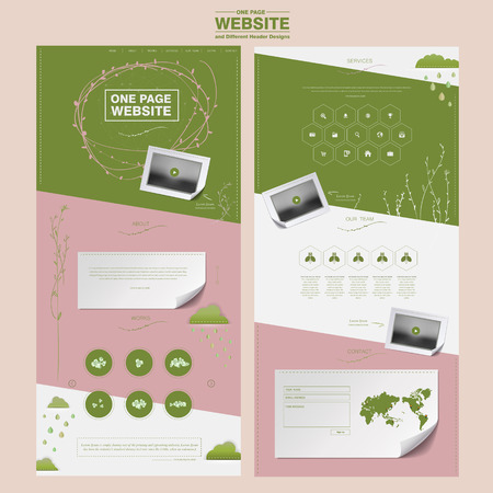graceful one page website design template in pink and green Illustration