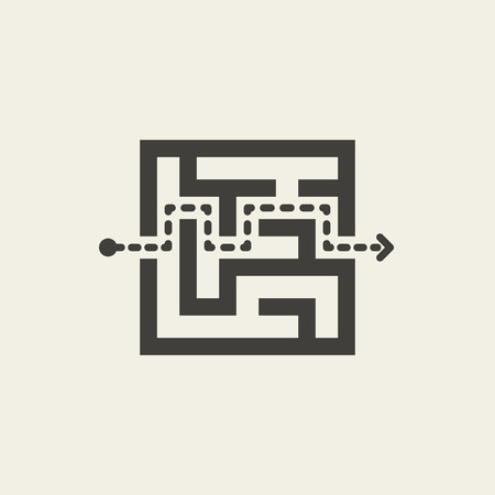 teaser: modern square maze isolated on beige background