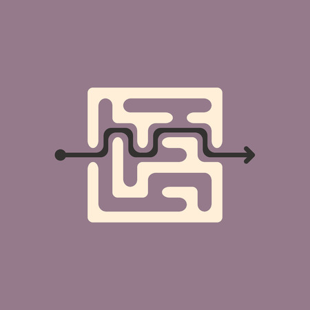 teaser: lovely square maze isolated on purple background Illustration