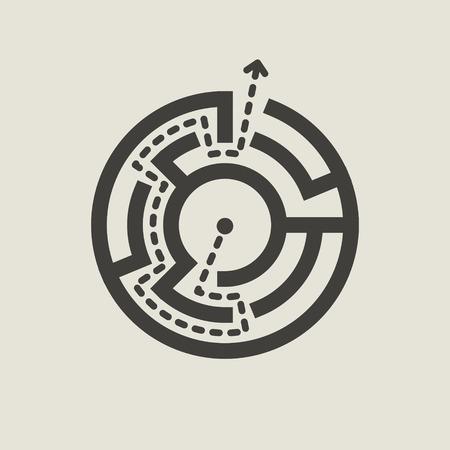 laberinto: sencillo laberinto circular aislado en fondo beige