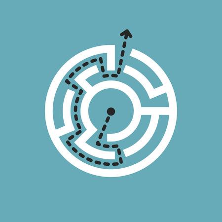 the maze: sencillo laberinto circular aislado en fondo azul