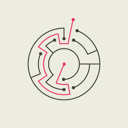 simple circular maze isolated on beige background