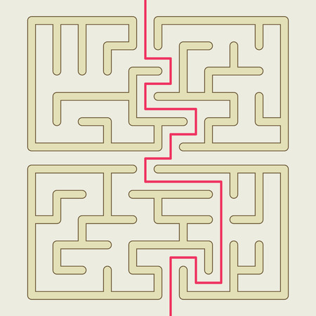 brain teaser: close-up look at square maze isolated on beige background Illustration