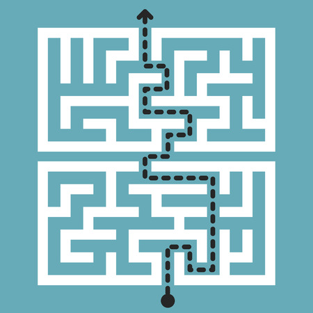 brain mysteries: trendy square maze isolated on blue background Illustration