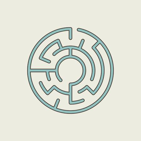 mazes: blue circular maze isolated on beige background