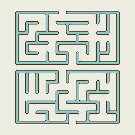 brain teaser: lovely blue square maze isolated on beige background