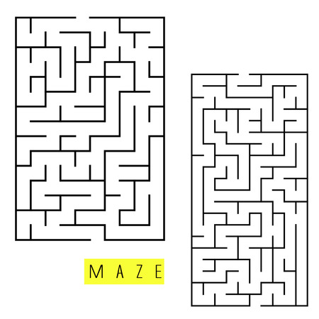 brain teaser: square labyrinth set isolated on white background Illustration