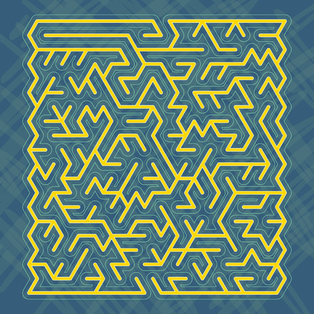 modern yellow labyrinth isolated on blue background Vector