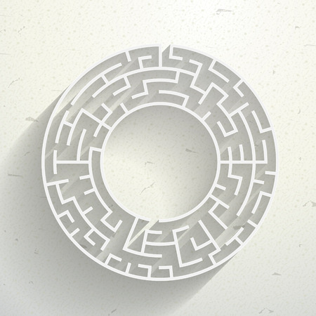 teaser: elegant circular maze with shadow isolated on beige background Illustration