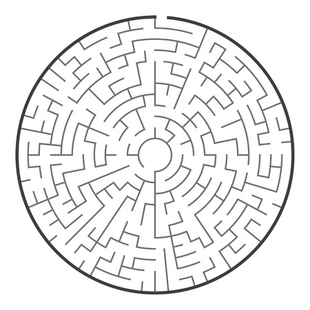 complexity: big circular maze isolated on white background Illustration