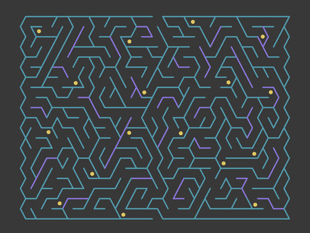 fashionable rectangular labyrinth isolated on black background Vectores