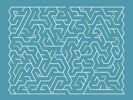 fashionable rectangular labyrinth isolated on blue background Vector