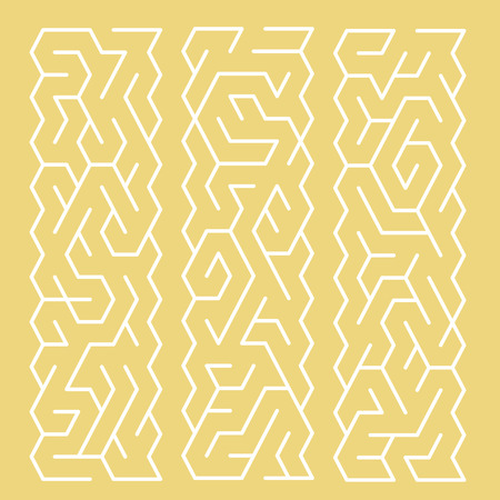 teaser: modern labyrinth set isolated on yellow background