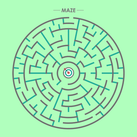 brain mysteries: modern circular maze with dartboard element over green background Illustration