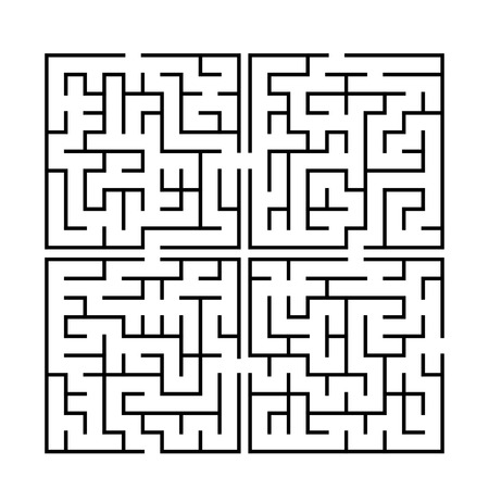 brain teaser: simple square labyrinth isolated on white background