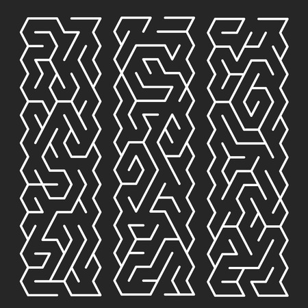 creative white labyrinth isolated on black background Vector