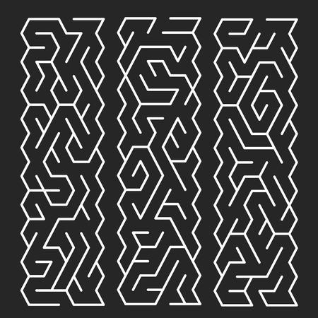 teaser: creative white labyrinth isolated on black background Illustration