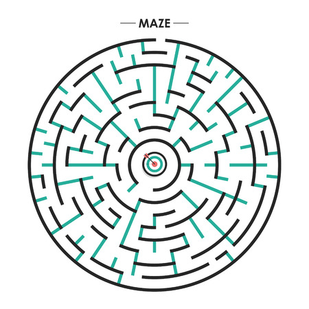 brain mysteries: modern circular maze with dartboard element over white background Illustration