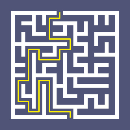 brain teaser: trendy square labyrinth isolated on purple background