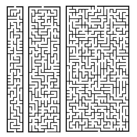 brain puzzle: trendy rectangular labyrinth set isolated on white background