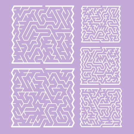 fashionable white labyrinth set isolated on purple background Vector