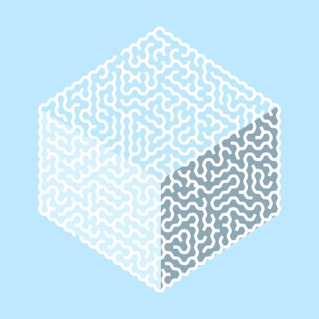 creative hexagon labyrinth in cube shape isolated on blue background Vector