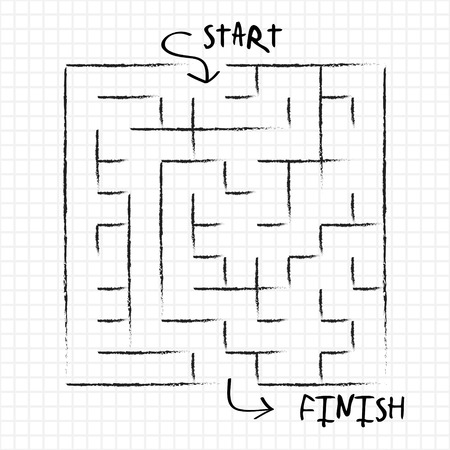 grid paper: innovative maze drawn by pencil isolated on grid note paper