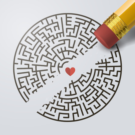 creative incomplete circular maze with a pencil over grey background